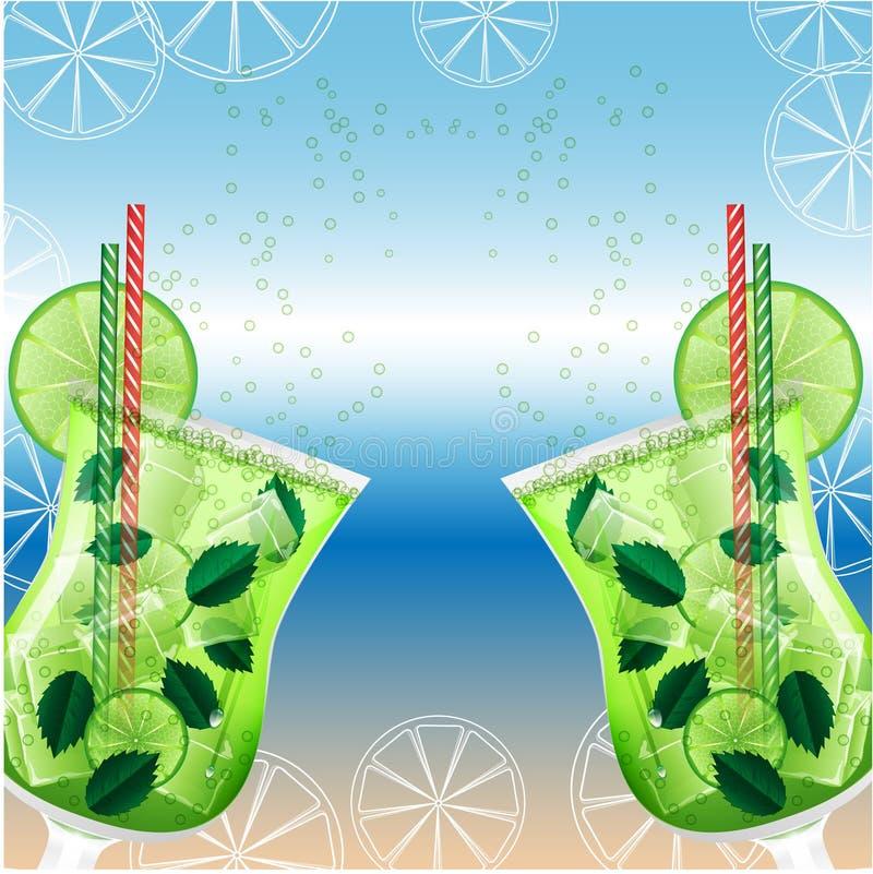 Glasses of mojito cocktail stock illustration