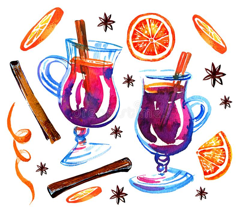 Glasses with mulled wine, oranges and cinnamon. Watercolor hand drawn set. Sketch illustration. Isolated on white background stock illustration