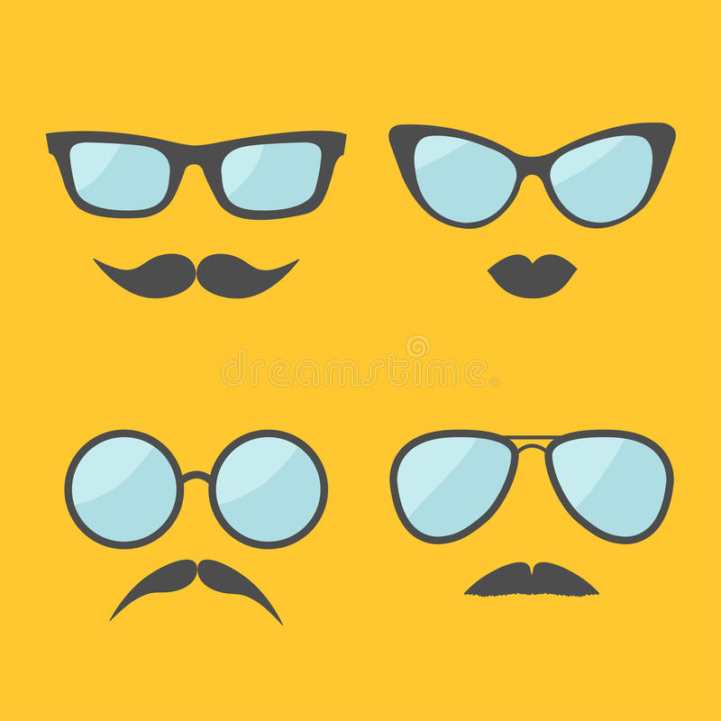 Glasses and mustache lips moustaches face icon set. Isolated Yellow background. Flat design stock illustration