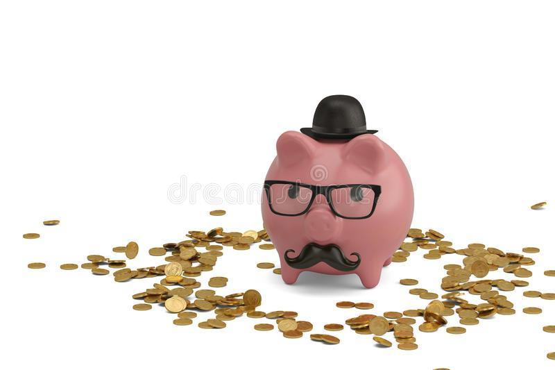Glasses with mustache on piggy and gold coins 3D illustration. Glasses with mustache on piggy and gold coins 3D illustration royalty free illustration
