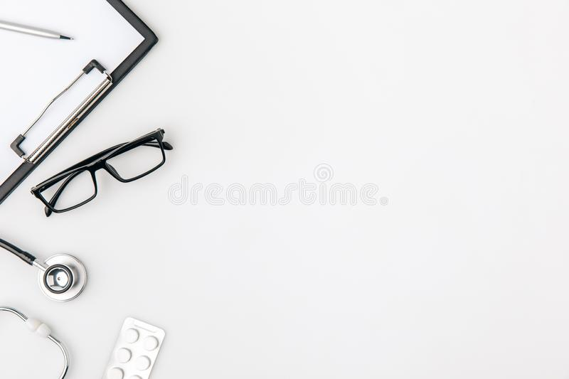 glasses near folder with paper and stethoscope stock photos