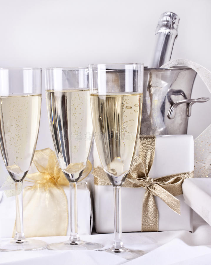 Free Glasses Of Champagne And Gifts Stock Image - 17545711