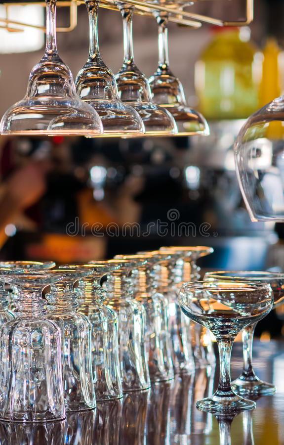 Free Glasses On Bar Counter Stock Photo - 18495700