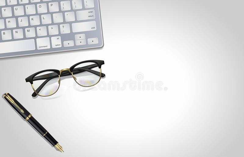 Glasses, pen, laptop - office tools on light gray background. Illustration. View from top royalty free stock photography