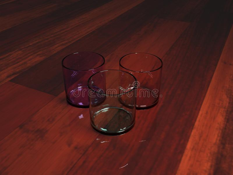 Glasses perched on synthetic wood royalty free stock photo