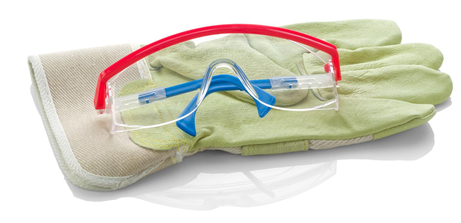 Glasses on protective glove isolated royalty free stock photos