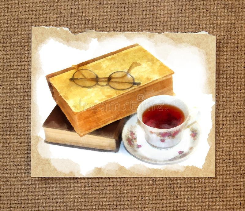 Glasses lie on old books in a shabby rumpled cover next to a cu royalty free stock photo