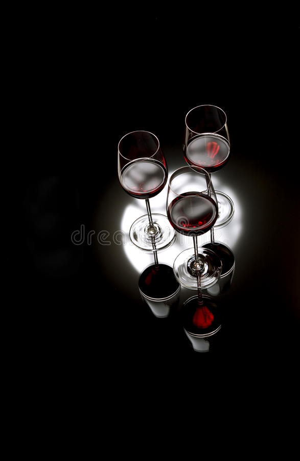 Glasses of red wine stock image