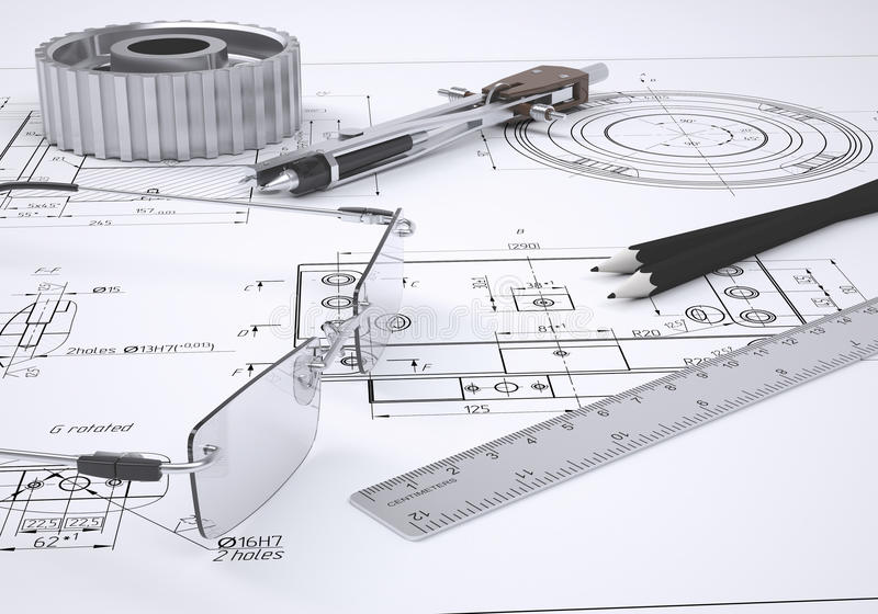 Glasses, ruler, compass, pencil and gear royalty free illustration