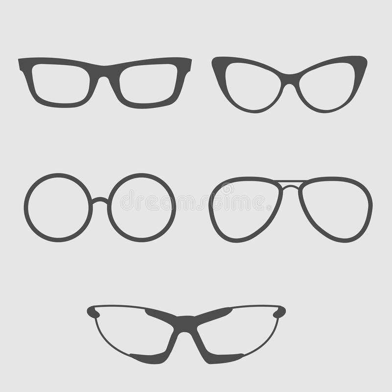 Glasses set. Isolated Icons. vector illustration
