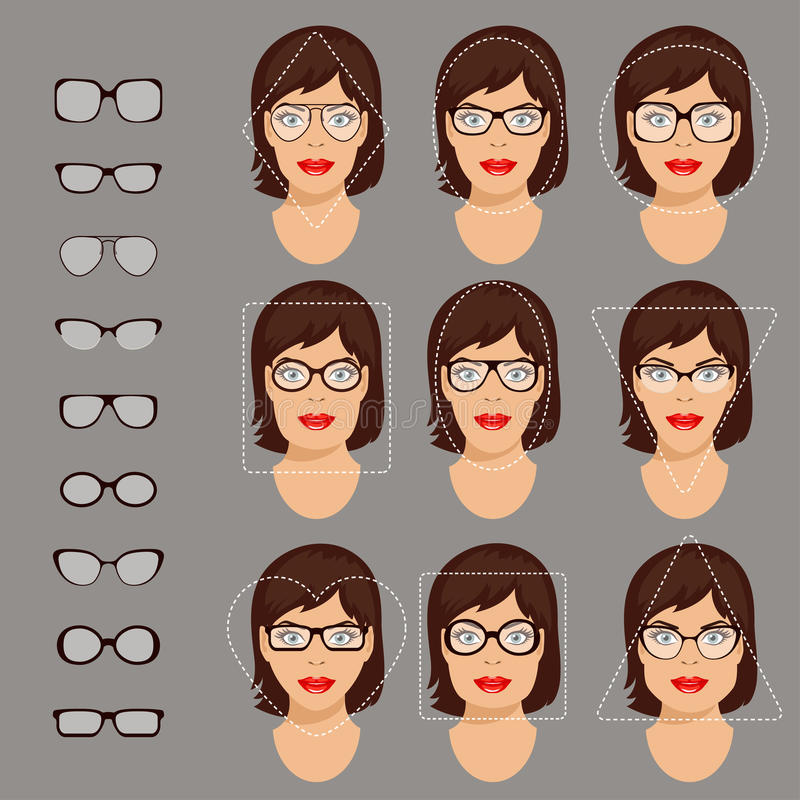 Glasses shapes 1. Stock vector illustration of glasses shapes for different womens face types - square, triangle, circle, oval, diamond, long, heart, rectangle vector illustration