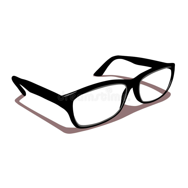 Glasses for sight. Black bow ,with shadows vector illustration
