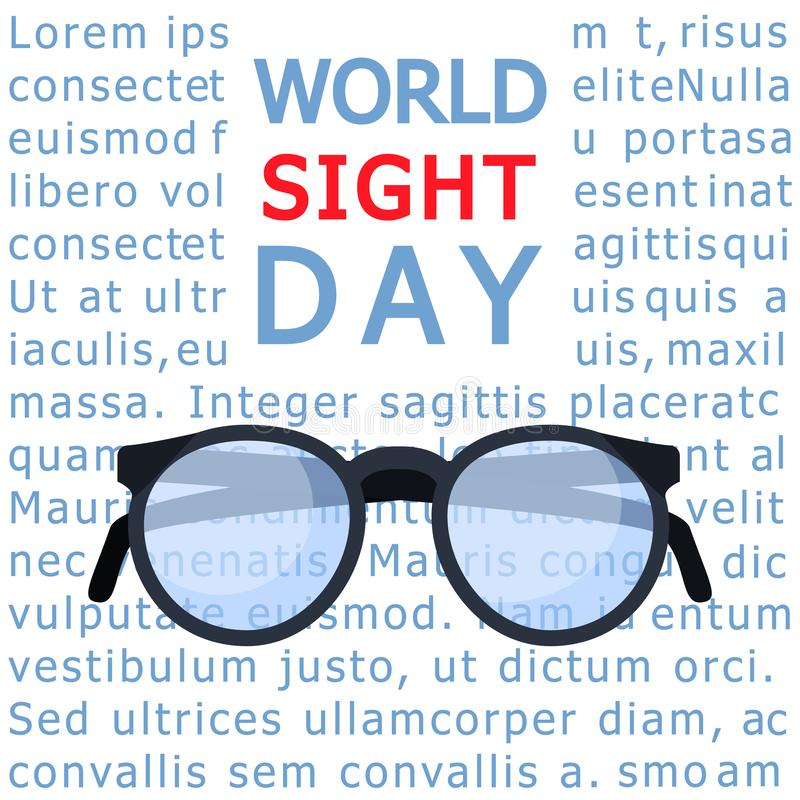 Glasses sight day concept background, flat style. Glasses sight day concept background. Flat illustration of glasses sight day vector concept background for web stock illustration
