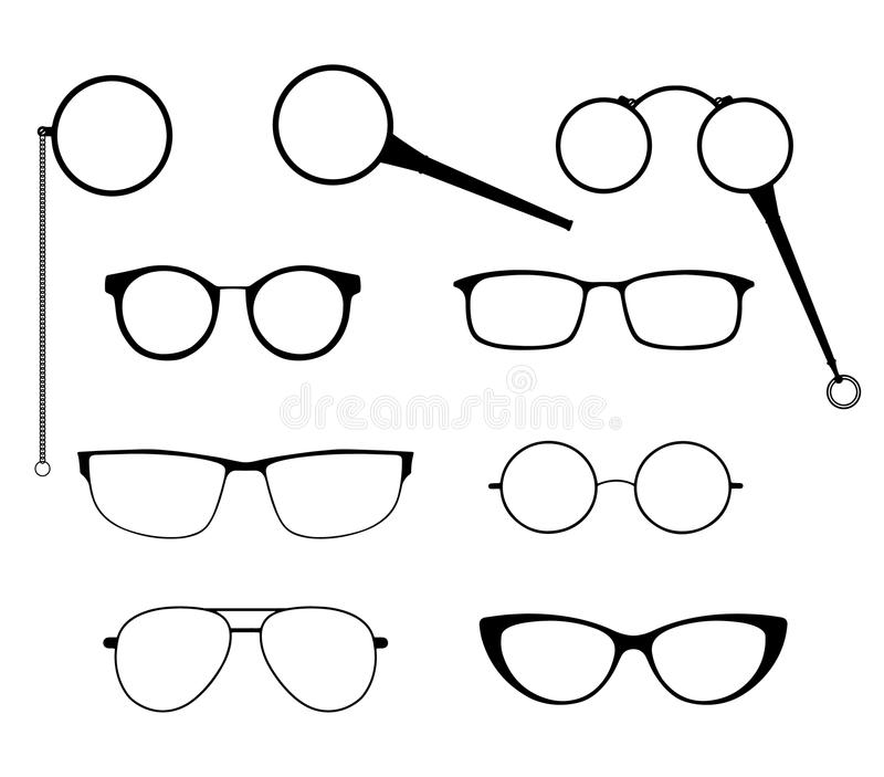 Glasses Silhouette Set. Frames To Modern Sunglasses With Different ...