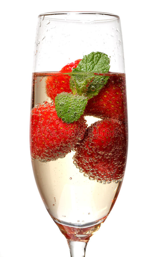 Glasses Of Sparkling Wine And Strawberry Royalty Free Stock Photos