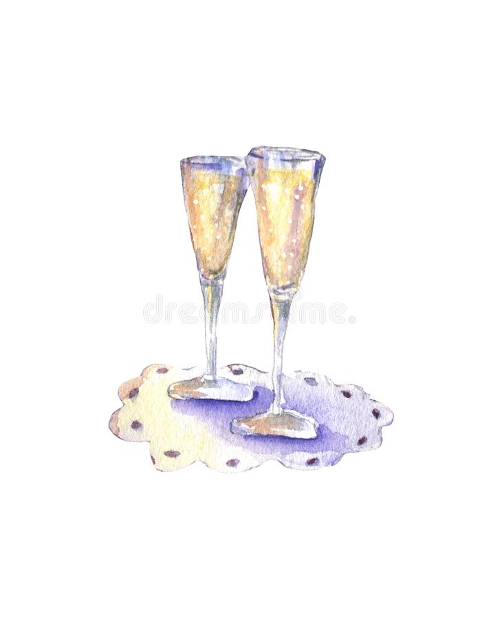 Glasses with sparkling wine royalty free illustration