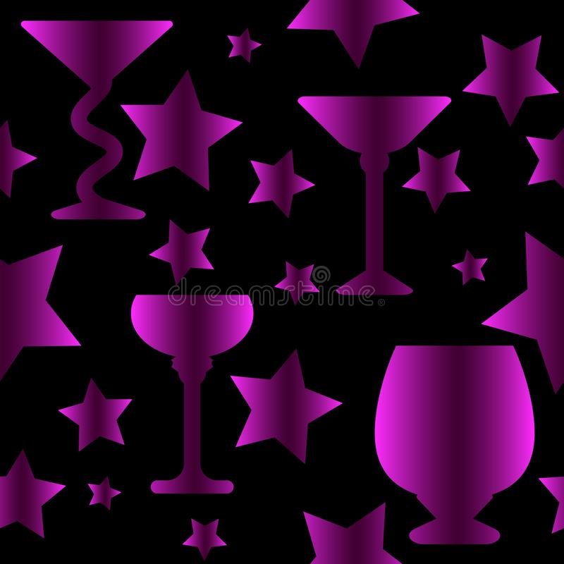 Purple gradient colored Glasses seamless pattern. Glasses and stars seamless pattern, purple gradient colored on black background stock illustration