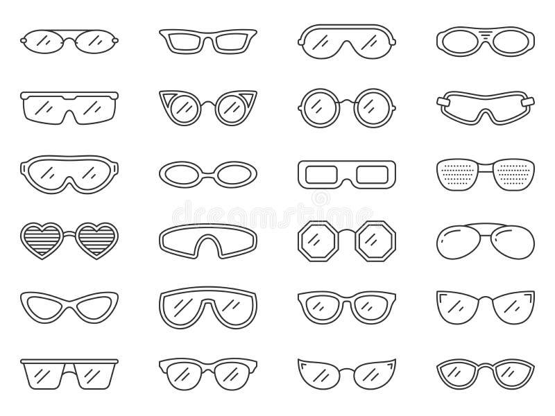 Glasses sun eye frame hipster line icon vector set royalty free illustration