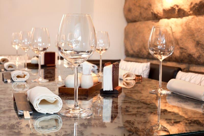 Glasses on table in sushi restaurant