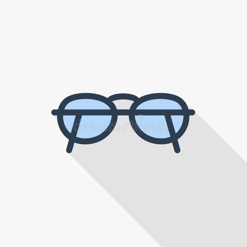 Glasses thin line flat color icon. Linear vector symbol. Colorful long shadow design. Glasses thin line flat color icon. Linear vector illustration. Pictogram stock illustration