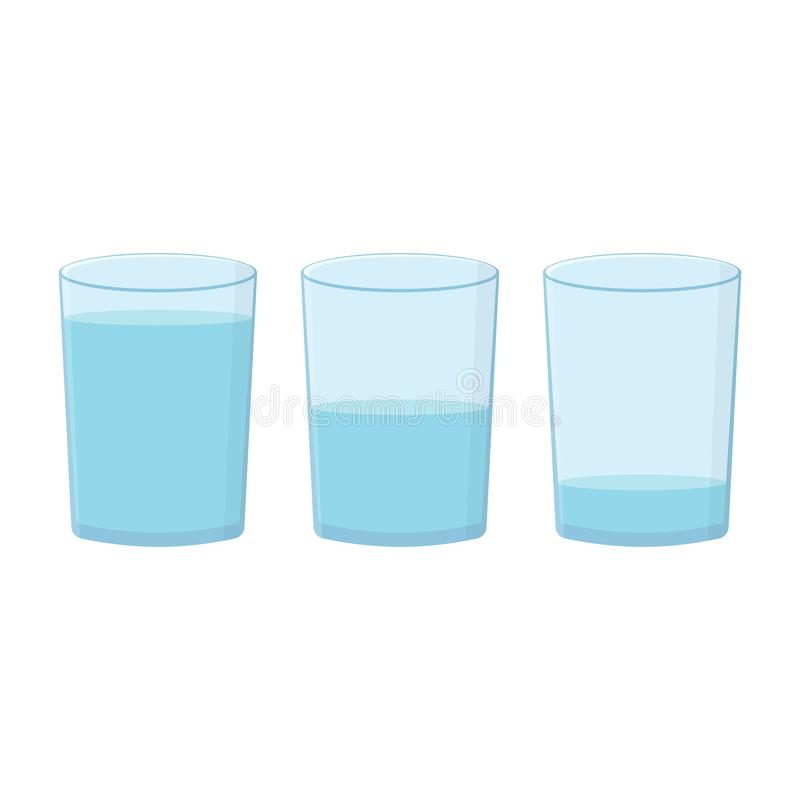 Glasses with water set on white background stock illustration