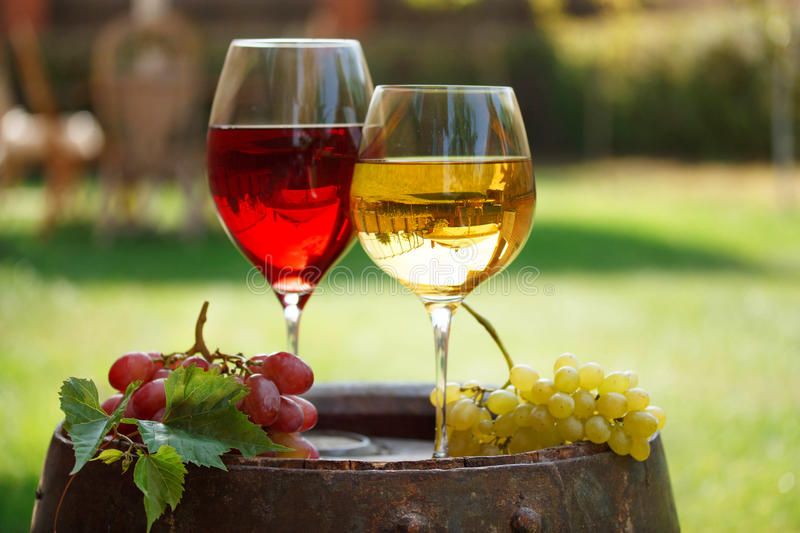 Glasses of wine on old barrel in garden. Glasses of wine on old barrel in a garden royalty free stock photos