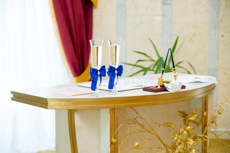 Glasses of wine in a registry office stock photos