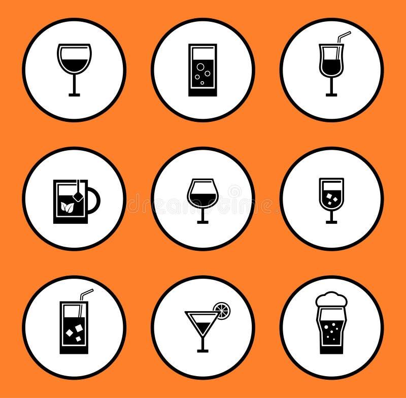 Glassful ikony set ilustracji