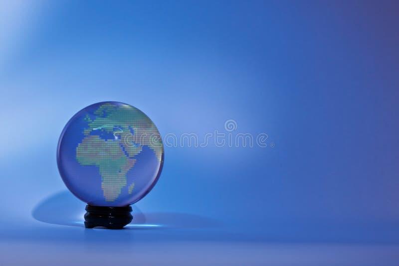 Glassglobe Europa Afrika royaltyfria bilder