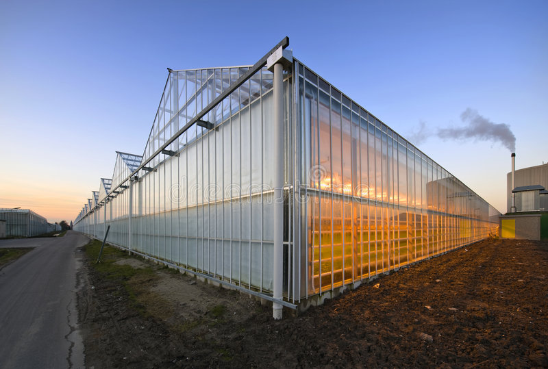 Glasshouse at dusk. The exterior glass facade of a huge glasshouse with heating system and generator stock photo