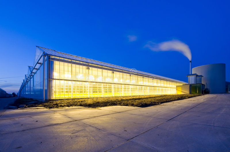 Glasshouse at dusk. The exterior glass facade of a huge glasshouse royalty free stock photo