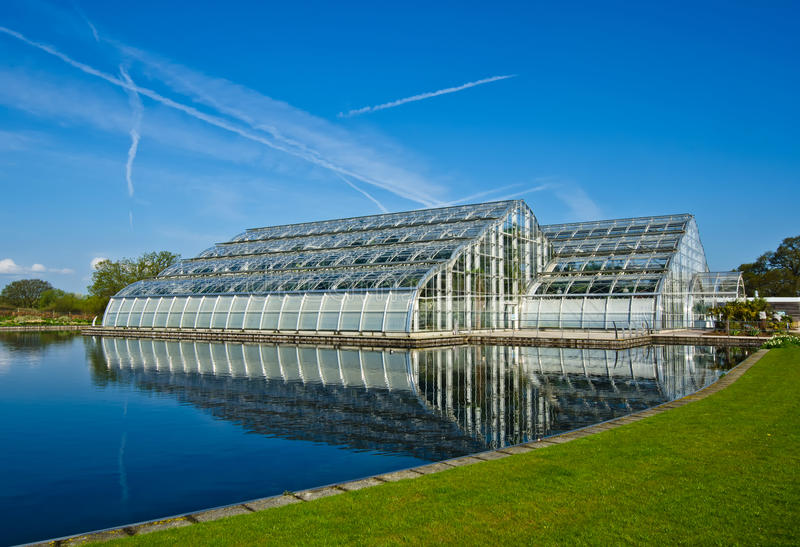 Glasshouse. Landscape in Wisley garden stock photos