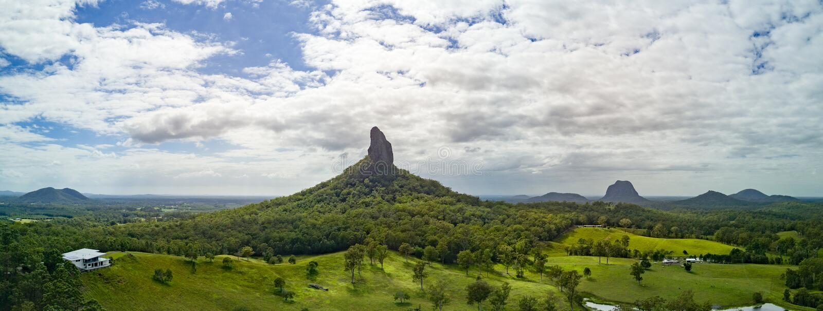 Glasshouse Mountains. Aerial view of the Glasshouse Mountains in Queensland Australia stock photo