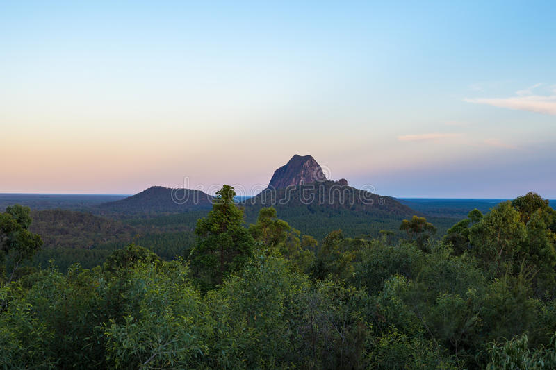 Glasshouse Mountains. Late afternoon light over Mount Tibrogargan, Glasshouse mountains, Australia royalty free stock image
