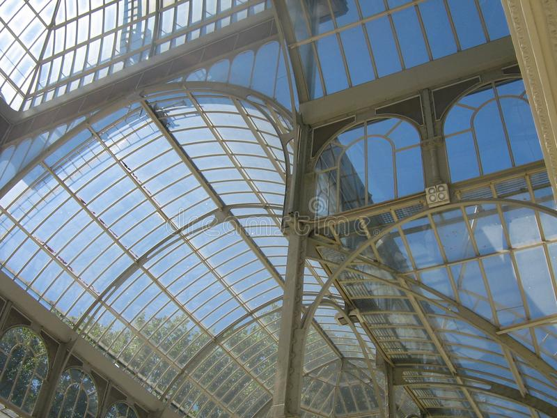 Glasshouse. A picture of a part of a glasshouse in a garden in Madrid for people to visite taken during a vacation in the summer stock photography