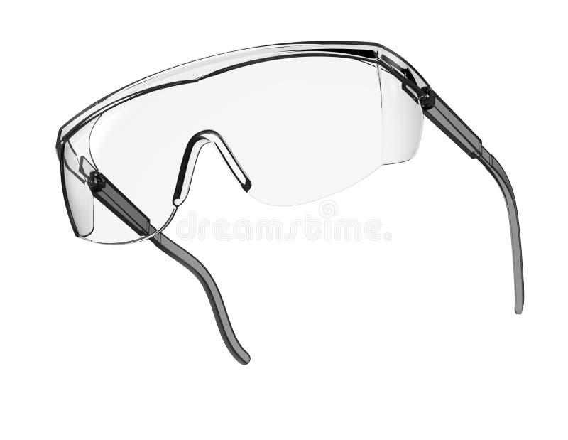 Glassicherheit lokalisiert auf einem Weißrückseitenboden vektor abbildung