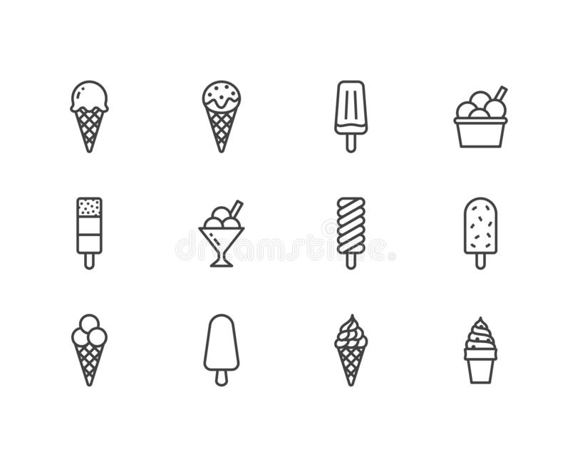 Glasslägenhetlinje symbolsuppsättning Dillandekotte, isglass, fryst fruktsaft, isglass, sorbet i bunkevektorillustrationer tunt vektor illustrationer