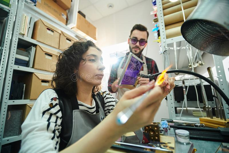 Glassmaking εργαστήριο στοκ εικόνες