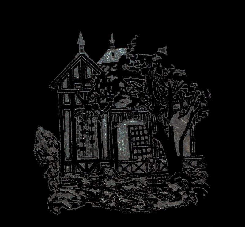 Glasstich - historisches Haus mit einem Baum lizenzfreie abbildung