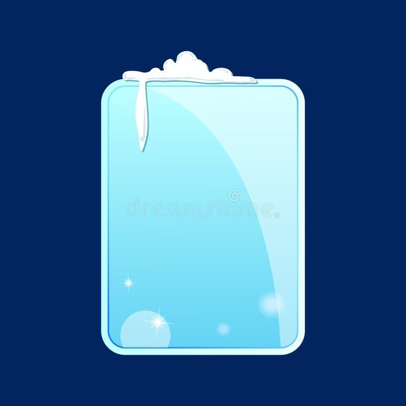 Glasstuk van ijs met rond gemaakte hoeken, sneeuw en ijskegels op een blauwe achtergrond Vector illustratie royalty-vrije illustratie