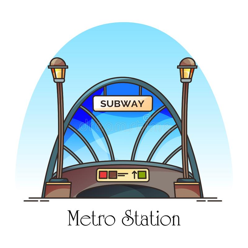 Glassware building of metro station, train railway. Glassware building of metro station or train railway. Subway entrance at downtown. Construction for vector illustration