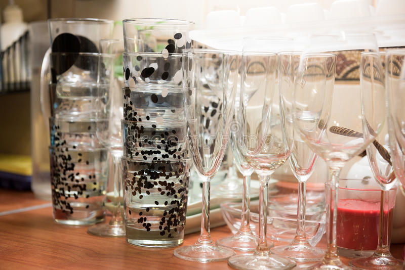 Glassware, glassful i win szkła, obraz royalty free