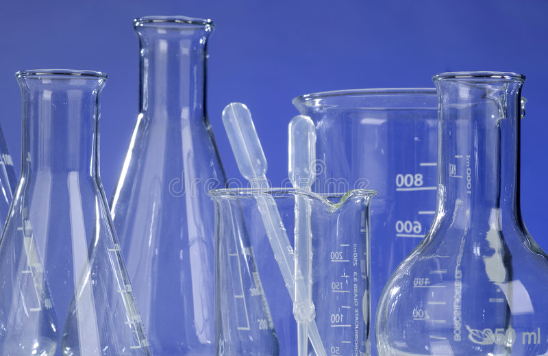Glassware in laboratory stock photos