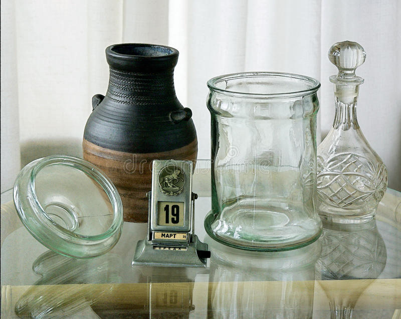 Glassware, miotacz i calenda, fotografia royalty free
