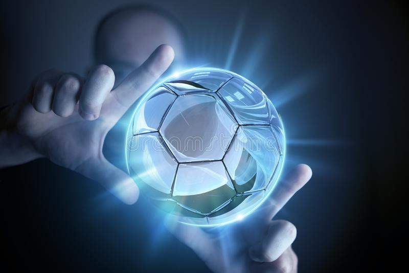 Glassy Ball Projection. Soccer Concept. Glassy Ball Resized by Hands royalty free stock images