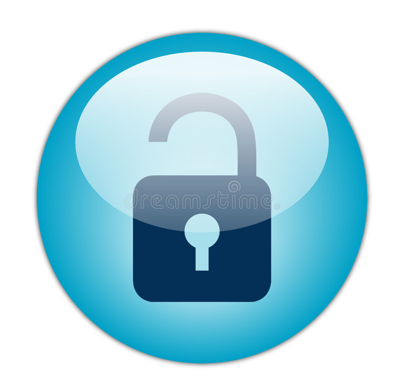 Download Glassy Blue Unlock Icon stock illustration. Illustration of button - 7099677