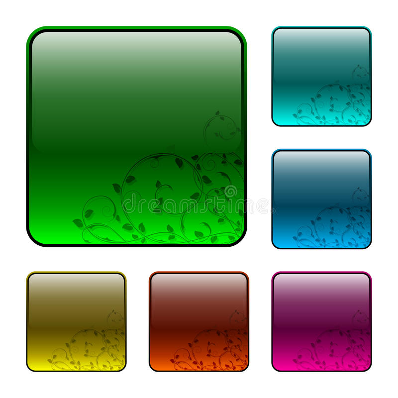 Download Glassy Buttons With Floral Decorations Stock Vector - Illustration: 13135765