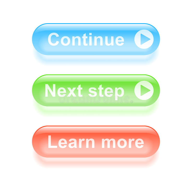 Glassy continue buttons royalty free illustration