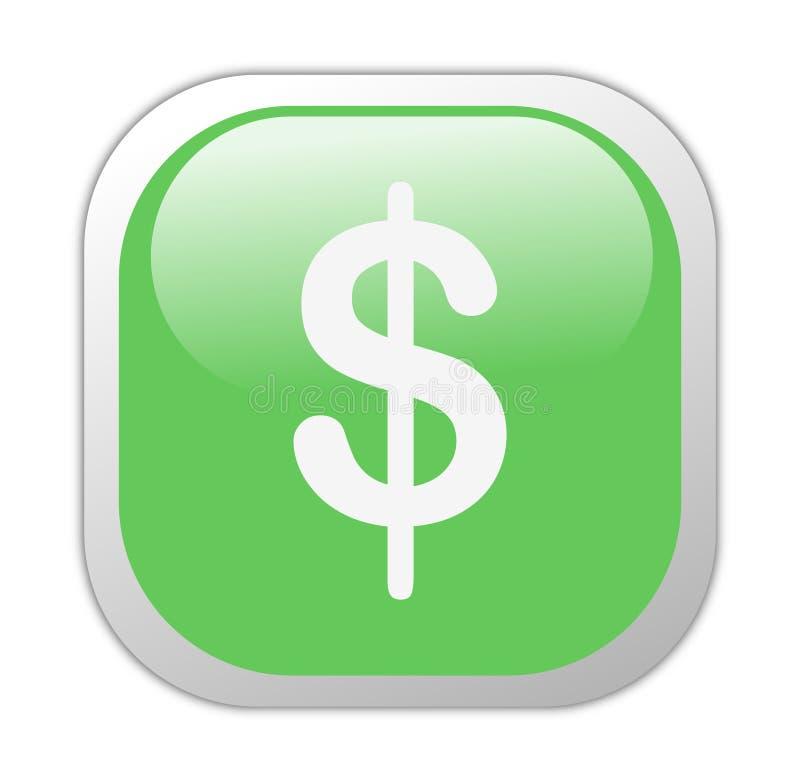 Glassy Green Square Dollar Icon stock illustration