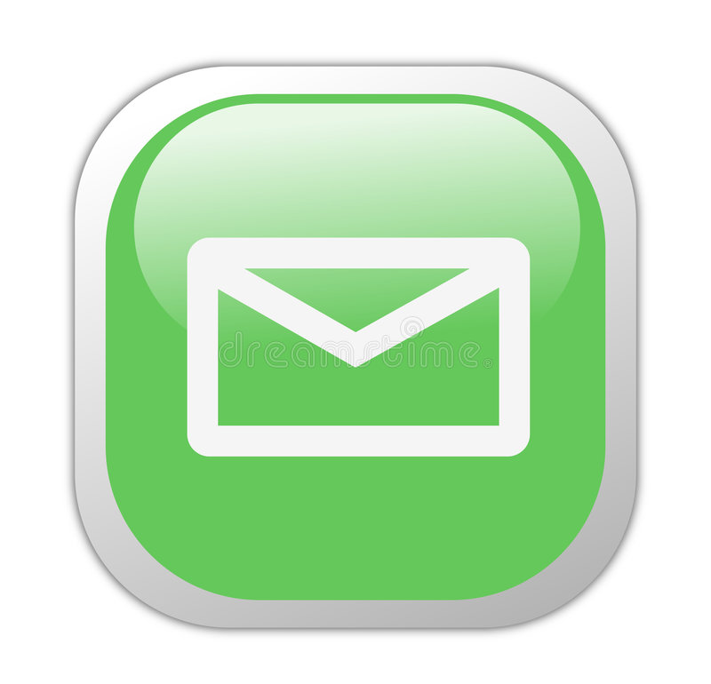 Glassy Green Square Email Icon royalty free illustration